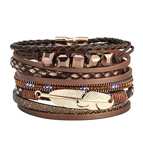 Yezijin Women's Feather Wrap Bracelet Crystal Bracelet Handmade Jewelry Bohemian Gift Under 5 Dollars Valentine's Day Gifts for Girlfriend/Boysfriend 2019 New
