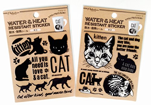 Cat Vinyl Decal Sticker for Yeti Tumblers, Bathroom kitchen Decor Heat And Water Resistant Stickers Cats Mug Cup Glass Tumbler Car 2 (Cat Embossed Sticker)