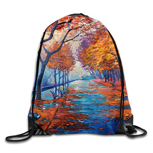 Autumn Forest Drawstring Gym Sport Bag, Large Lightweight Gym Sackpack Backpack For Men And (Book Character Costume Ideas Images)