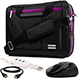 "EL Prado 3-in-1 Hybrid Purple Trim Laptop Bag w/ 3PC Accessory Bundle for Acer Aspire / TravelMate / Spin / Swift / ChromeBook / V Nitro / Predator / 14""-15.6in"