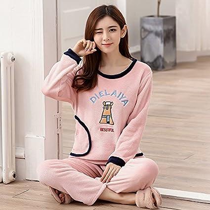 DHG Pijamas de Terciopelo de Coral de Manga Larga de Otoño E Invierno Damas Pijamas de
