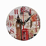 Cheap Feamos Vintage Wall Clock Rustic Country Chic Style Wooden Round Square for Home Office School Kitchen Decor (London)