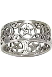 Sterling Silver Wide Filigree Pentacle Band Ring (sz 4-15)