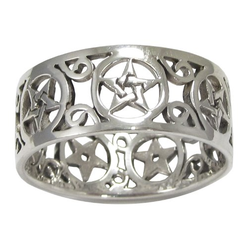 Sterling Silver Wide Filigree Pentacle Band Ring