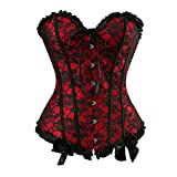 Zhitunemi Women's Lace Through Top Floral Overbust Corset Waist Cincher Bustier Medium Red