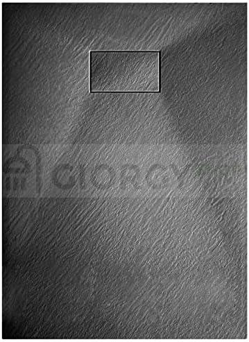 90x140 cm, Nero Euclide Piatto doccia effetto pietra ardesia stone smc no mineralmarmo BEIGE BIANCO NERO 70 80 90 100 120 140 160 180 cm piletta inclusa