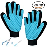 URBEST Pet Dog Grooming Gloves, Pet Hair Remover Dogs Deshedding Brush Cats 2-in-1 Combo Massage Glove for Long & Short Fur with Pet Nail Clippers (Blue01)