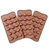 3pc Cute Funny Poop Emoji Candy Molds, Chocolate Molds, Silicone Molds, Soap Molds, Silicone Baking Molds Smile stool Ice Cube Candy Dessert Jello Mould , coffee (poop)