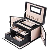 Songmics Leather Jewelry Box w/ Travel Case and Lock Storage Case Organizer