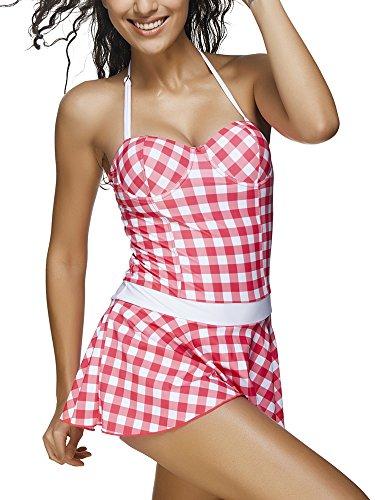 Bozevon Costume Tankini Intero Donna Da Bagno C Vestito qp1gTxq