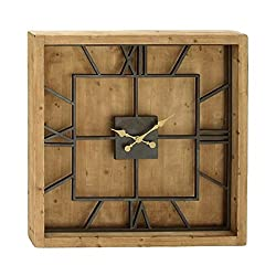 Benzara 44380 Antique Colonial Chic Wood Metal Square Wall Clock