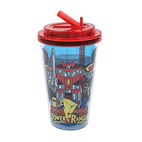 Silver Buffalo PR1684 Saban Power Rangers Megazord Plastic Flip Straw Cold Cup, 16-Ounces