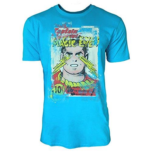 SINUS ART® Magic Eyes Herren T-Shirts in Karibik blau Cooles Fun Shirt mit tollen Aufdruck