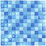Turquoise Cobalt Blue Mosaic Glass Tile Blend 1''x1'' for Bathroom, Kitchen or Pool/Spa