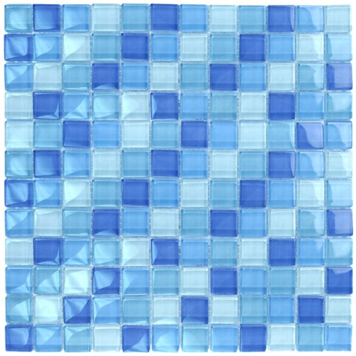 Turquoise Cobalt Blue Mosaic Glass Tile Blend 1