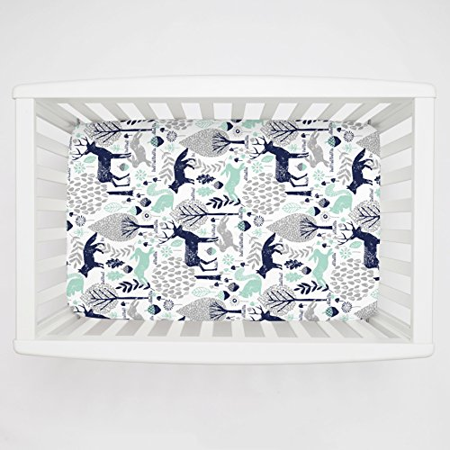 (Carousel Designs Navy and Mint Woodland Animals Mini Crib Sheet 5-Inch-6-Inch Depth - Organic 100% Cotton Fitted Mini Crib Sheet - Made in The USA)