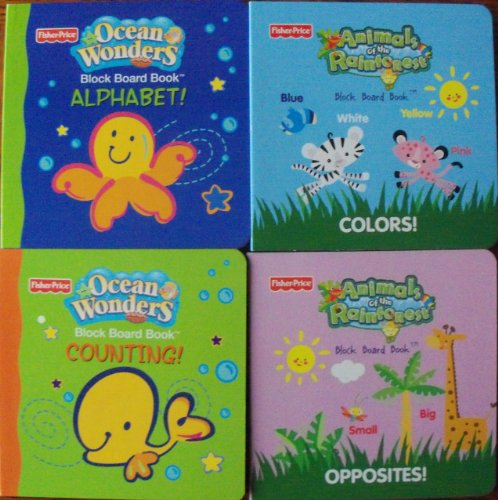 Fisher-Price Set of 4 Ocean Wonders & Animals of the Rainforest (Alphabet, Colors, Counting, Opposites) -