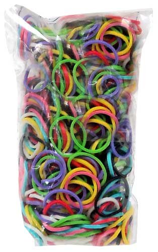 RAINBOW LOOM LATEX FREE REFILL BAG MULTICOLOR MIXED BANDS WITH 600 BANDS & C-CLIPS (Red Bands For A Loom)