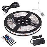 Toplus LED Strip Lights Kit Waterproof SMD 5050 RGB 16.4ft 5M 300LEDs Dimmable Led Strips Color Changing Flexible LED Rope Lights with 44Key Remote + 12V 5A Power Supply + IR Control Box
