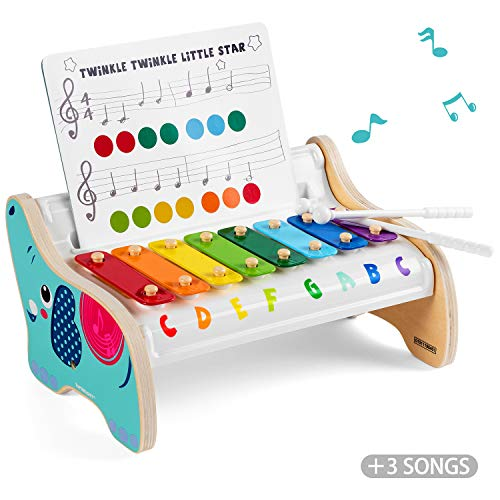 TOP BRIGHT Wooden Xylophone for Kids, Baby Musical Instrument Toy with 2 Xylophone Mallets and 3 Musical Cards, Holiday…