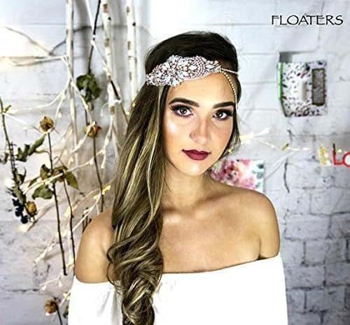 Amazon Com Bridal Headband Boho Head Chain Rose Gold Hair