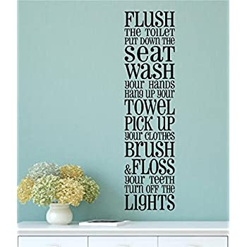 Charming Enchantingly Elegant Bathroom Rules Vinyl Decal Wall Art Words Sticker  Lettering Quote Bathroom Home Decor 10x40 Part 32