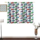 home1love Bedroom Windproof Curtain Cars Children Baby Boy Toy Figures Pattern with Dots Number Five Cars for Joyous Play Time Mildew-Proof Polyester Fabric W55 xL39