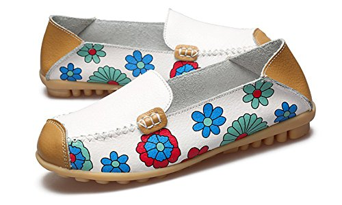 Eagsouni Women's Leather Loafers Moccasins Casual Slip On Driving Dancing Boat Shoes Flower Printed Flat Pumps White TQa1VnE