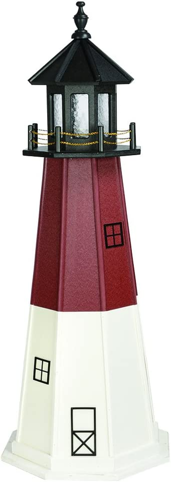 Country Living Primitives Amish Handcrafted Wood Garden Lighthouse - Barnegat - Assorted Sizes - Black, Red & White (5 Foot)