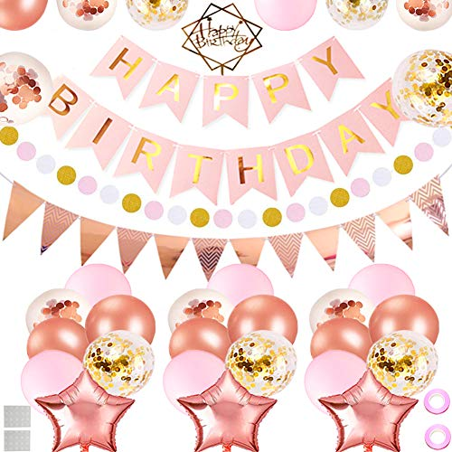 Birthday Decoration Party Supplies, TuoFang Pink and Gold Birthday Decorations, Happy Birthday Banner, 31 Birthday Party Balloons, Cake Topper, Flowers Clips, Party Supplies for Kids Girl (Supplies Pink Cowgirl Birthday)