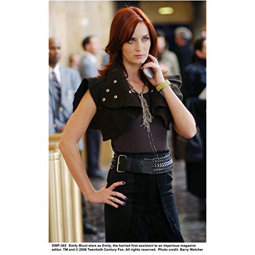 The Devil Wears Prada 8 inch x 10 inch Photo Emily Blunt in All Black Looking Sassy Holding Phone - Black All Pradas