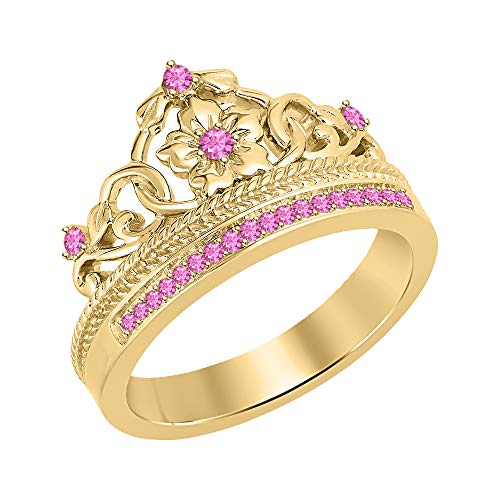(tusakha Beautiful 0.25ctw Created Pink Sapphire 18K Yellow Gold Plated Princess Crown Ring-Fashion Flower Ring for Womens 925 Sterling Silver)