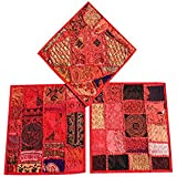 """Designer Throw Pillow Sham Vintage Patchwork Red Cushion Covers Set Of 3 16""""x 16"""""""