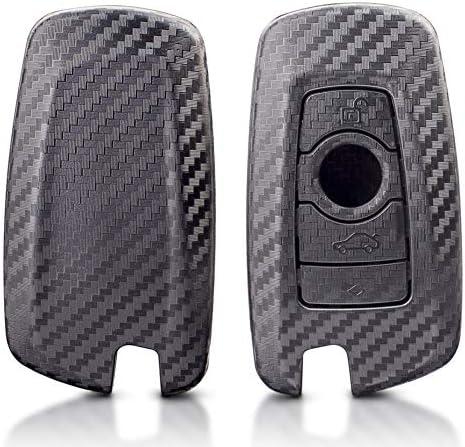 DOHON カーボンファイバーキーフォブ リモートケース 1個 光沢ブラック 4.7*4.3*1inch DH-BMW-RT-FT-4B-1