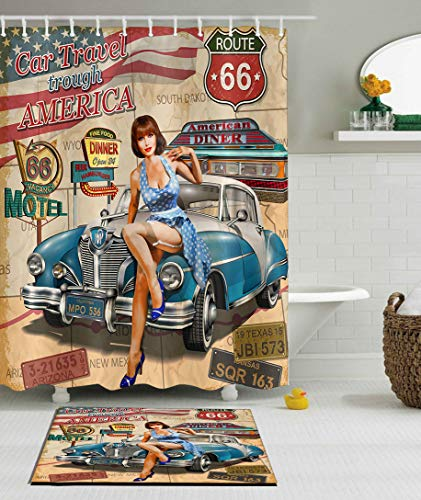 (LB Route 66 Shower Curtain Set,American Vintage Poster Style Hot Girl Modern Shower Curtain with Car Theme, Waterproof Fabric Bathroom Decor 72x72 Inches with Bath Mat)