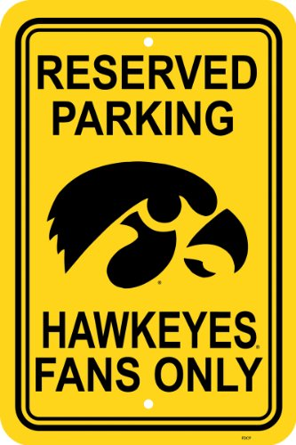 NCAA Iowa Hawkeyes 12-by-18 inch Plastic Parking Sign ()