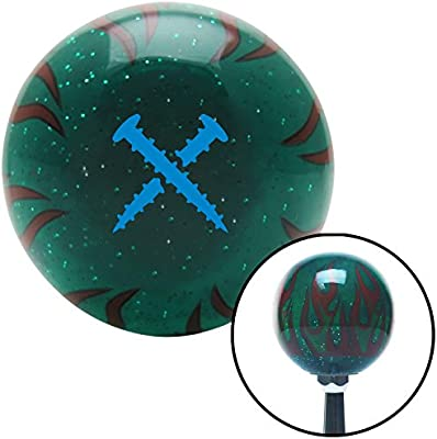 American Shifter 301079 Shift Knob Blue Screws Green Flame Metal Flake with M16 x 1.5 Insert
