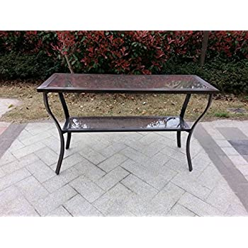 this item aluminum outdoor glass top console table