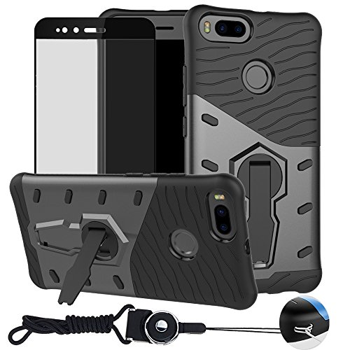 Xiaomi MI A1 / Xiaomi 5X Case , BestAlice Hybrid Heavy Duty Protection 360 Rotating Kickstand Armor Case Cover & Full Coverage Tempered Glass Screen Protector & Neck Lanyard , Black