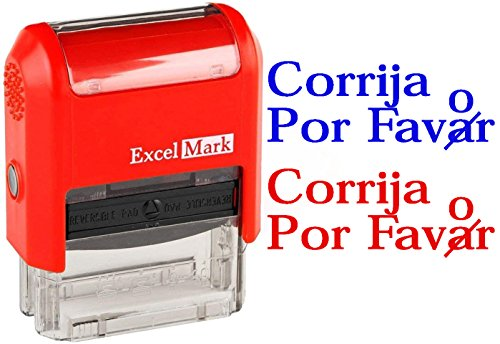 CORRIJA POR Favor - ExcelMark Self-Inking Two-Color Rubber Spanish Teacher Stamp - Perfect for Grading Homework - Red and Blue Ink
