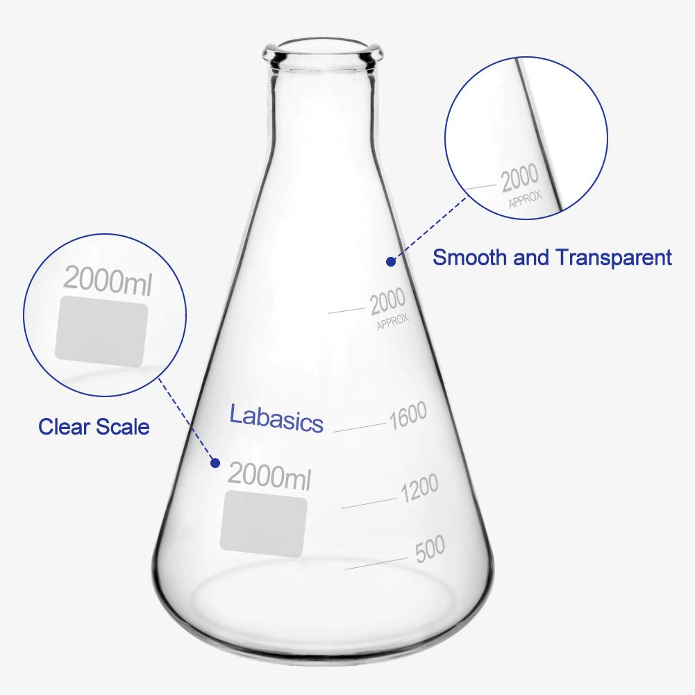 Labasics Glass Narrow Mouth Erlenmeyer Flask Borosilicate Glass Heavy Wall Flask with Heavy Duty Rim 1 L