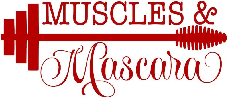 CCI Muscles and Mascara Decal Vinyl Sticker|Cars Trucks Vans Walls Laptop| RED |7.5 x 3.5 in|CCI1219