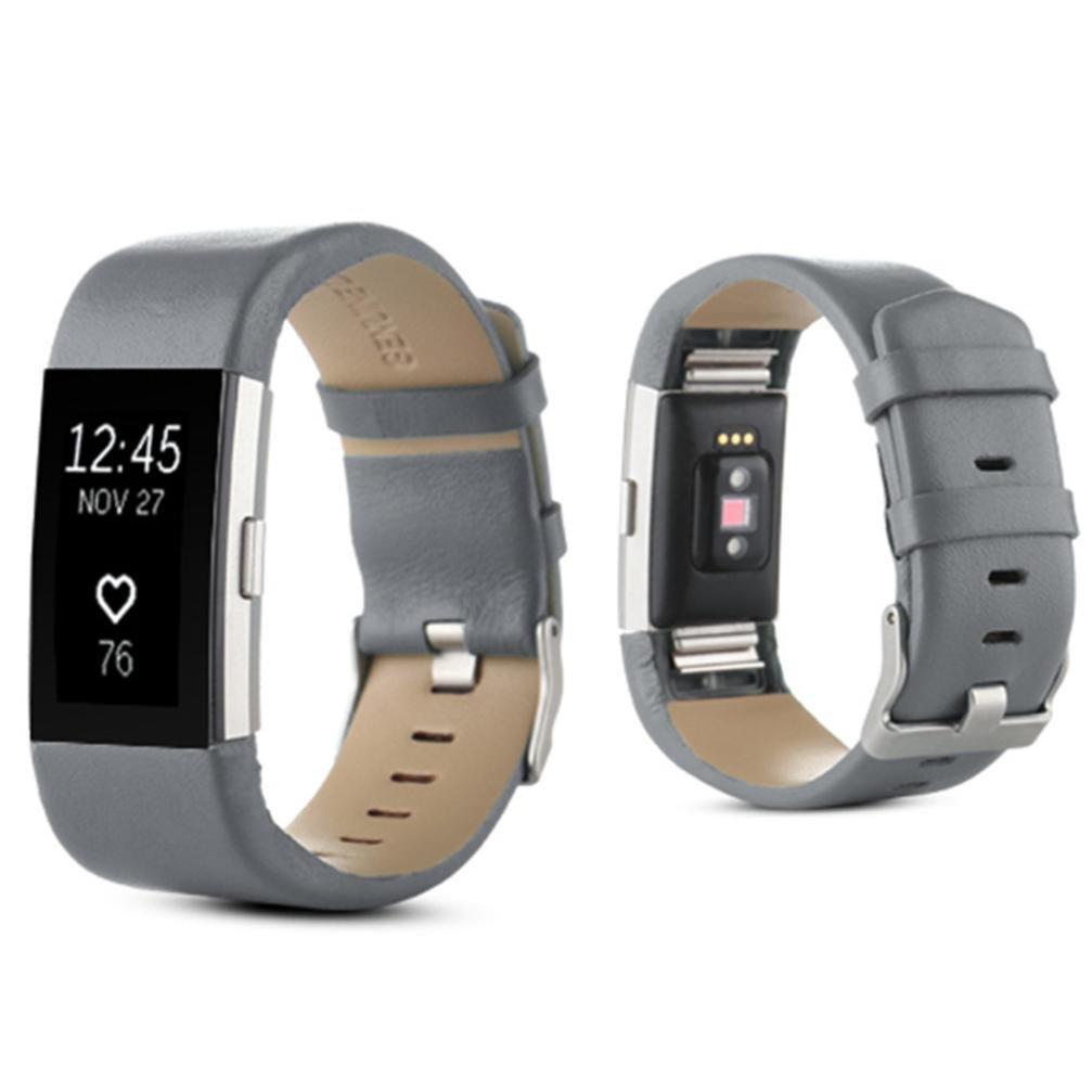 anshintoスポーツ本革時計バンドストラップリストバンドブレスレットfor Fitbit Charge 2  グレー B076CB3Y9Z