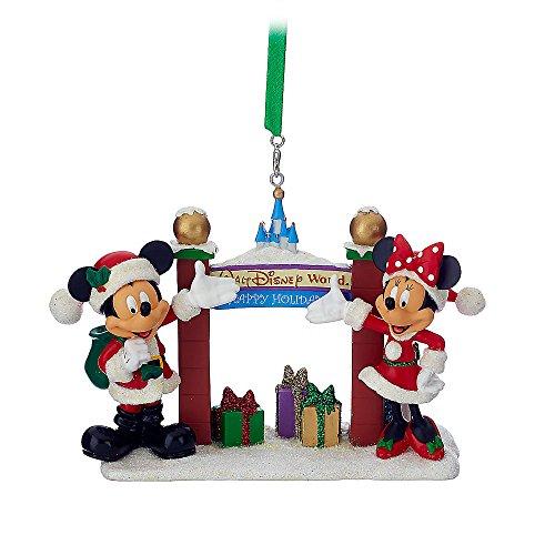Disney Santa Mickey & Minnie Mouse with Walt Disney World Arch Figural Ornament