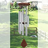 Sympathy Wind Chimes Outdoor,32' Large Wind Chimes Amazing Grace with 8 Tubes Tuned Soothing Relaxing Melody,Memorial Wind Chimes for Mom,Friends,Garden Housewarming Christmas Decor Chime,Silver