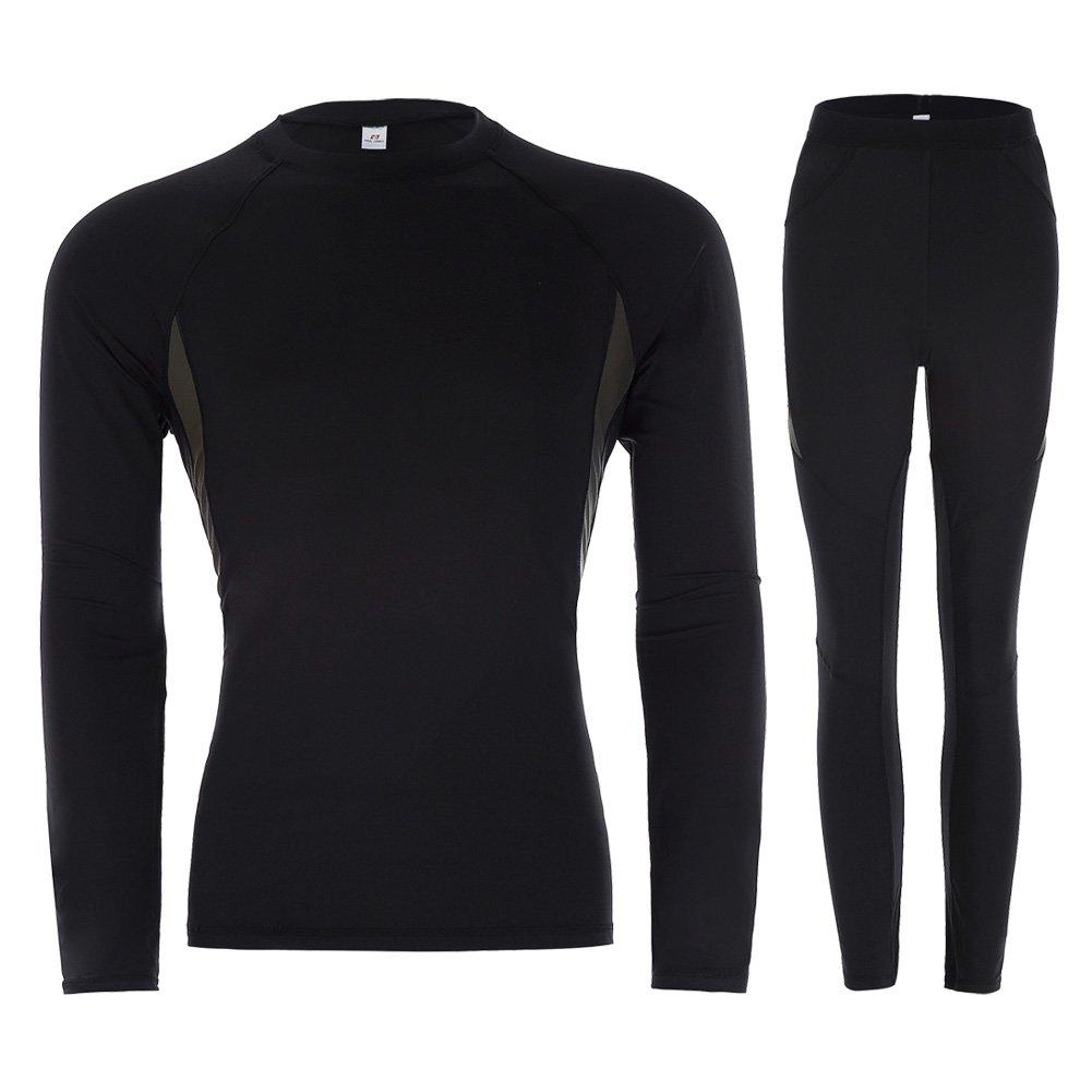 PAUL JONES Men's Warm Long Thermal Underwear Set T-Shirt Pants with Fleece PJ0062