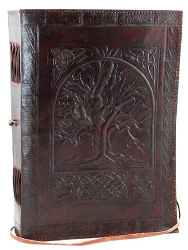 SKH55 Fair Trade Handmade Eco Tree Of Life Design Embossed Leather Journal Notebook