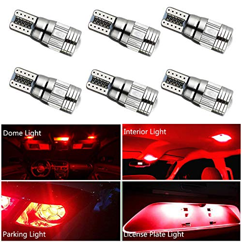 HOCOLO T10 198 194 168 912 921 W5W 2825 White Amber/Yellow Blue Green Red Ice Blue Color For Interior Dome/Map/License Plate/Parking/Door/Trunk Lights (6pcs T10 6-SMD Canbus Error Free, Red) ()