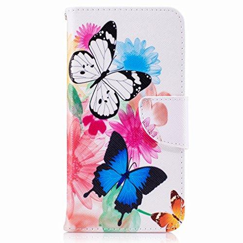 Yiizy Huawei P8 Lite (2017) / Honor 8 Lite / Nova Lite Funda, Flower Butterfly Diseño Solapa Flip Billetera Carcasa Tapa Estuches Premium PU Cuero Cover Cáscara Bumper Protector Slim Piel Shell Case S