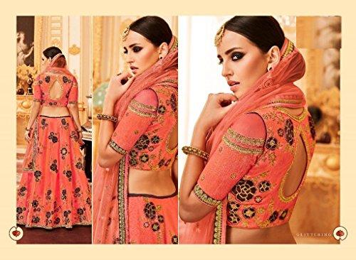 dupatta per anarkali EMPORIUM da la indossare 2768 sposa lehenga di personalizzato choli indiana festa tradizionale seta salwar kameez seta abito donne ETNICO misurare nozze etnica 5CZXqwxAq